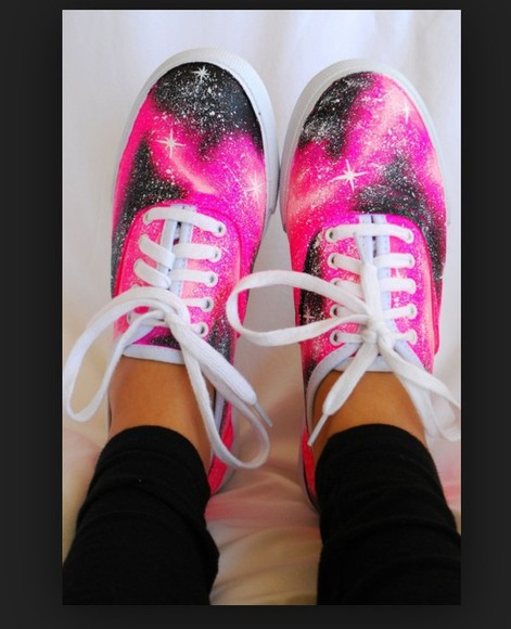 shoes galaxy space van shoes pink cute