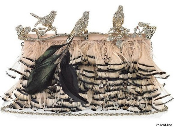 rhinestone pink bag Valentino feathers clutch