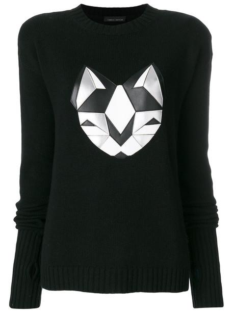 Frankie Morello - silver cat sweater - women - Polyamide/Viscose/Cashmere/Wool - XS, Black, Polyamide/Viscose/Cashmere/Wool