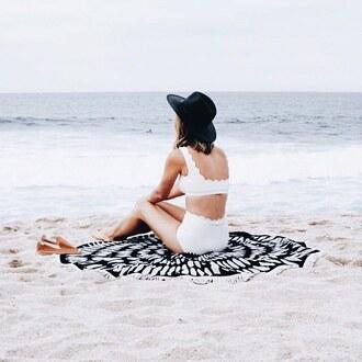 scarf round beach towel printed towel beach towel swimwear swimwear two piece white swimwear bikini white bikini hat black hat sun hat scalloped scallop bikini beach summer