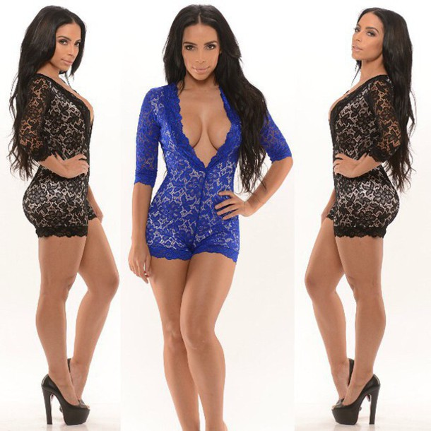 romper lace black blue sexy