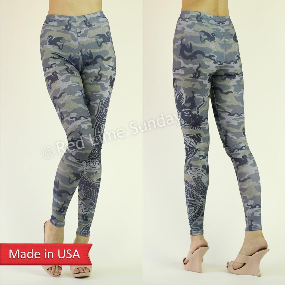 New Camouflage Animal Print Asian Dragon Tattoo Print Leggings Tights Pants USA