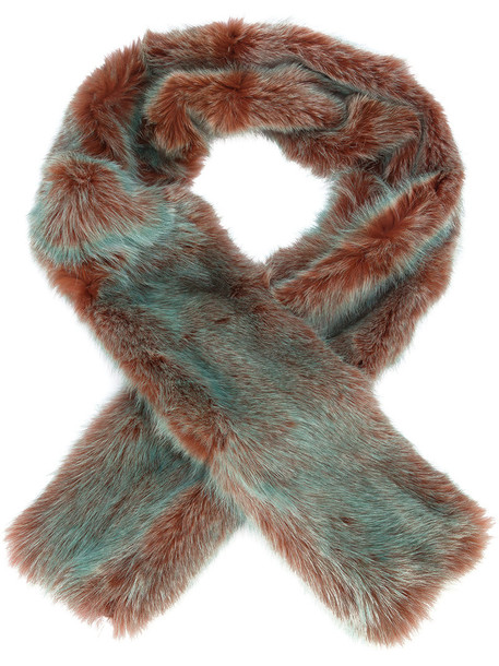 SIES MARJAN fur fox women scarf silk scarf silk green