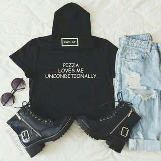 t-shirt pizza jeans ripped jeans acid wash jeans shirt black t-shirt white t-shirt grunge food grunge t-shirt galentines day top rad af love shorts shades sunglasses hat beanie crop tops boots gold summer outfits shoes black