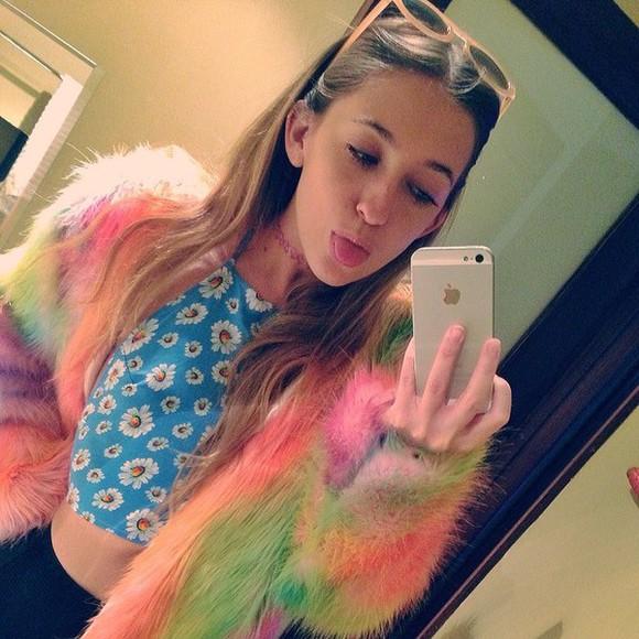 fur faux fur rainbow rainbow coat fur coat rainbow fur trippy