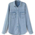ROMWE | ROMWE Pocketed Asymmetric Blue Denim Shirt, The Latest Street Fashion