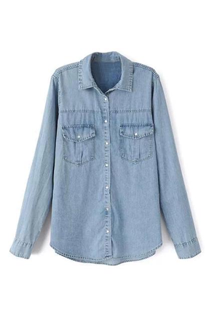 ROMWE | ROMWE Pocketed Asymmetric Blue Denim Shirt, The Latest Street Fashion