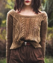sweater,brown,short,cute,pattern,knitting