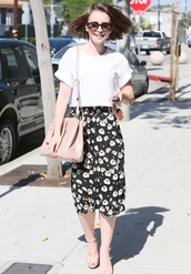 bag,lily collins,keychain,jewels,skirt,top
