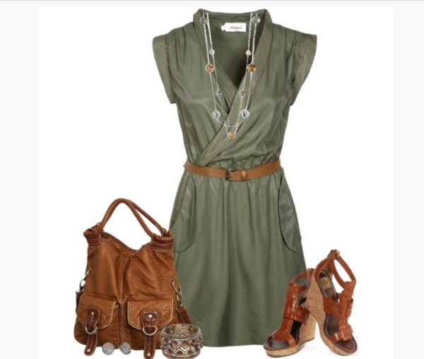 dress short dress short sleeve short sleeve dress v neck dress cross over top cross over dress army green dress belted dress necklace bag purse bracelets heels shoes wedges wedge sandals clothes outfit