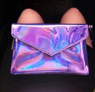 bag holographic bag clutch lilac purple