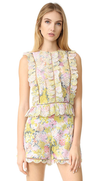 Zimmermann Valour Hydrangea Frill Top - Floral Embroidery