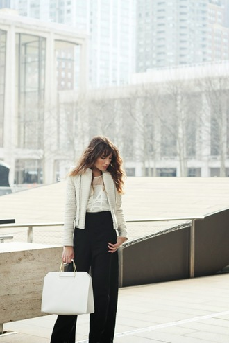 the marcy stop blogger bag flare pants white jacket white bag