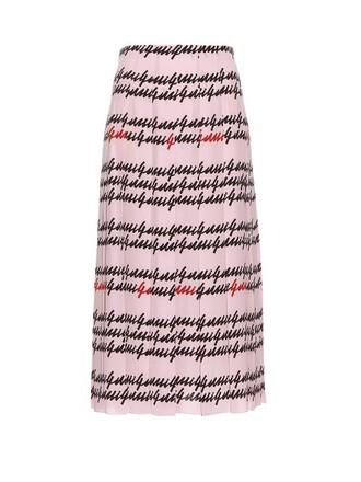 skirt pleated print silk pink