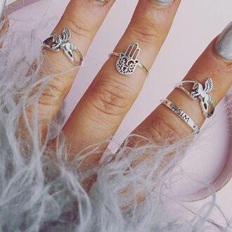 jewels cherry diva unicorn bohemian boho unicorn ring knuckle ring ring silver silver ring silver jewelry boho jewelry