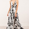 Crossover back plunge floral print sheer maxi dress in white black