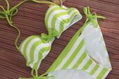 swimwear,lime green bikini,striped bikini,bikini