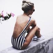 swimwear,stripes,striped swimwear,one piece swimsuit,sneakers,nike sneakers,nike,nike shoes,sunglasses,summer