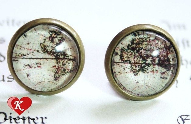 Antique world map small studs earrings bronzecolored
