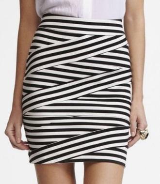 skirt striped skirt black and white skirt bandage skirt