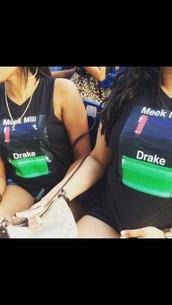 t-shirt,drake,battery,black t-shirt,meek mill,cut off shorts,dope,cool