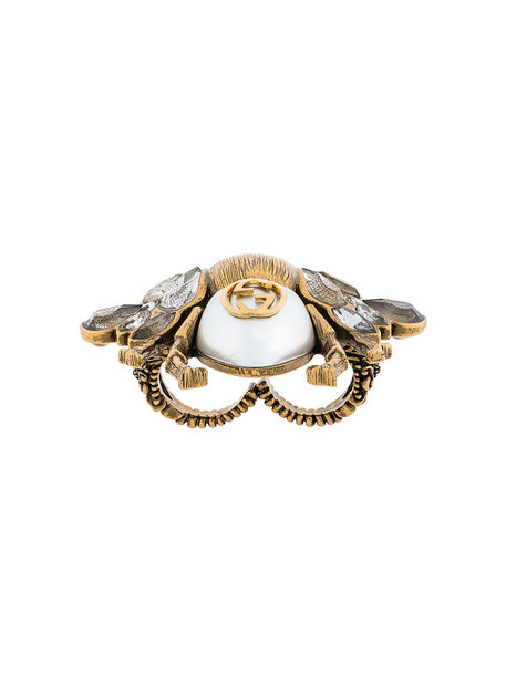 gucci women pearl bee ring grey metallic jewels