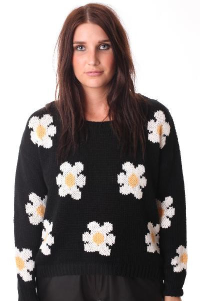Daisy print knitted sweater