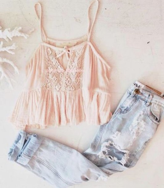 blouse light pink lace ripped jeans jeans crop tops girly clothes light blue jeans boyfriend jeans style tank top romantic rose light pink pastel top pink shabby chic dainty feminine peach blue boyfriend ripped light casual