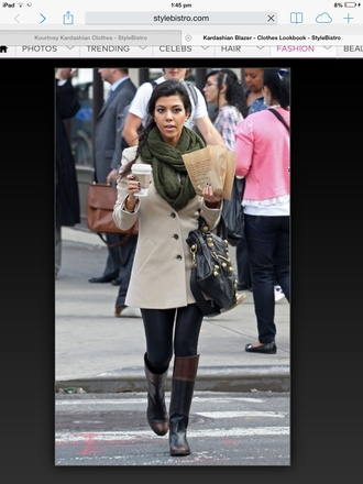 coat kourtney kardashian jeans scarf shoes