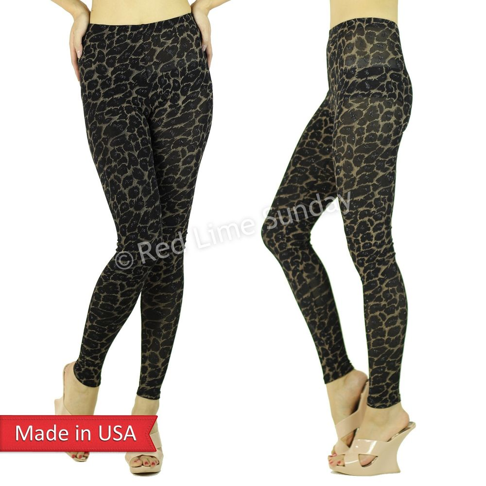 Women Sexy Tiger Leopard Animal Print Sparkle Spancole Leggings Tights Pants USA
