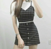 top,brown,checkered,spaghetti strap,skirt,button up,shirt,plaid,crop,dress,plaid shirt,plaid top,plaid skirt,plaid crop tops