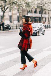 shoes,tumblr,balenciaga,pants,black pants,cropped pajamas,cropped pants,coat,red coat,oversized,oversized coat,tartan,tartan coat,fisherman cap,pumps,pointed toe pumps,high heel pumps