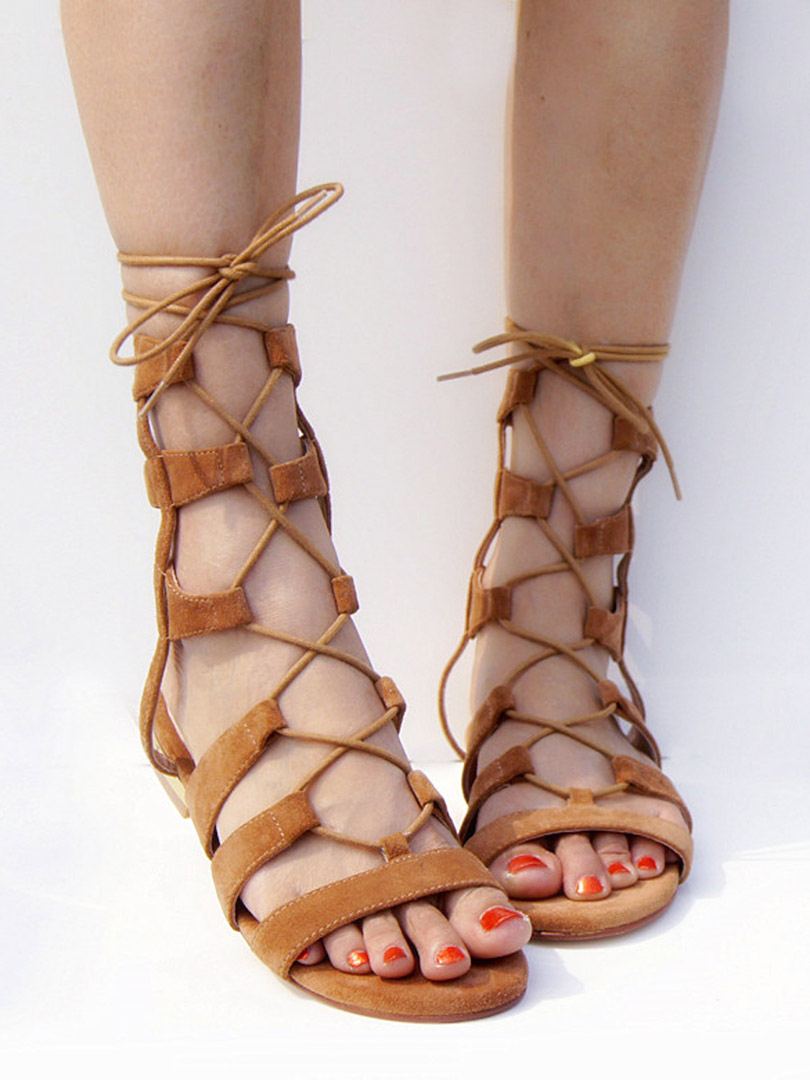 Brown Suede Lace-up Gladiator Sandals with Gold Heels - Choies.com 32e34bfd0