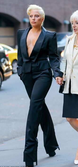 jacket blazer all black everything lady gaga shoes platform shoes suit