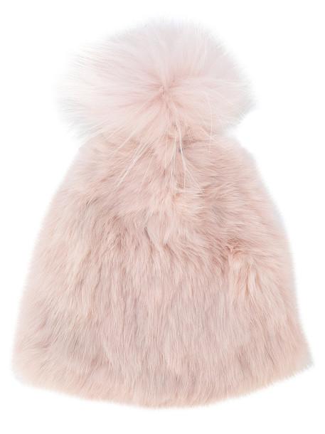 Yves Salomon Accessories fur women fluffy dog hat purple pink
