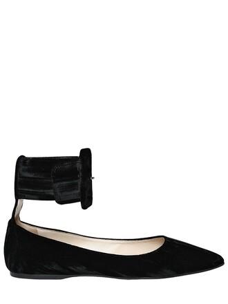 ankle strap flats velvet black shoes