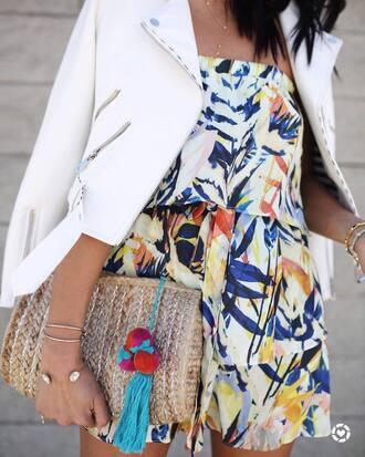 bag romper clutch bracelets gold bracelet jewels jewelry gold jewelry jacket white jacket summer outfits
