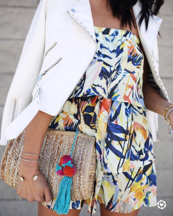 bag romper clutch bracelets gold bracelet jewels jewelry gold jewelry jacket white jacket summer outfits