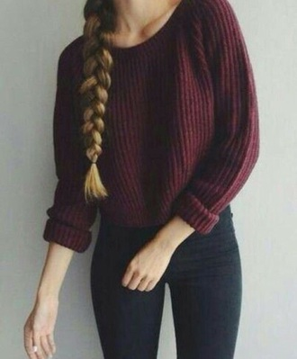 sweater burgundy cableknit pullover knit purple