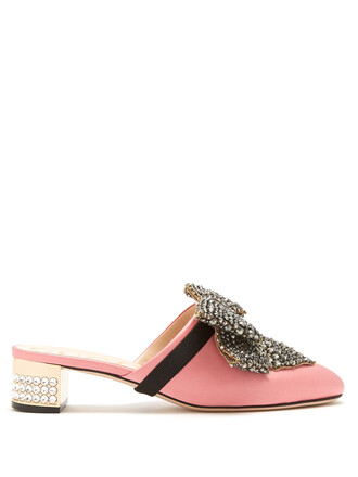 backless embellished loafers satin light pink light pink shoes