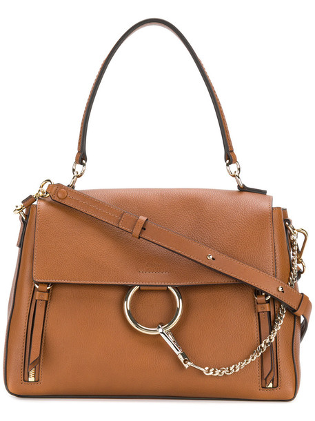 women bag leather cotton brown