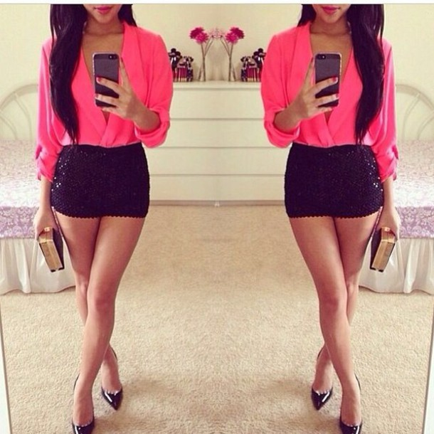 shorts blouse neon pink blouse dress laced short red black high heels tank top shoes shirt pink sequins pink blouse black shorts glamgerous glitter short