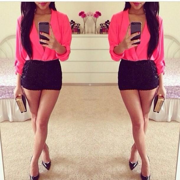 shorts blouse neon pink blouse dress shirt pink black sequins pink blouse black shorts glamgerous glitter short