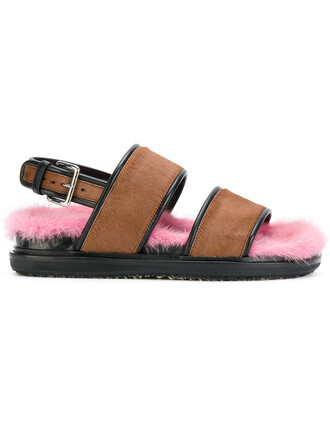hair fur strappy women sandals strappy sandals brown shoes