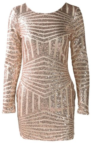 Gold Geometric Sequined Open Back Bodycon Dress