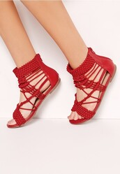shoes,sandals,flat sandals,red flat sandals,Red low heel sandals,red sandals