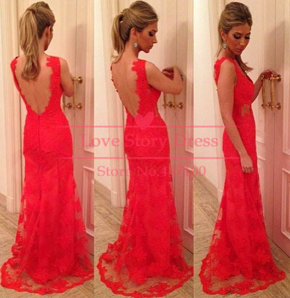 Vestido De Renda Elegant V neck Red Lace with Open Back Floor Length Evening Gown Prom Dress 2013 New Fashion robe de soiree -in Evening Dresses from Apparel & Accessories on Aliexpress.com