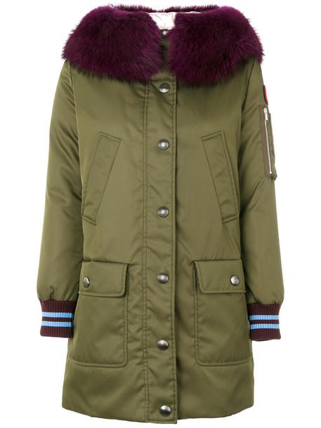 Miu Miu coat parka fur women wool green
