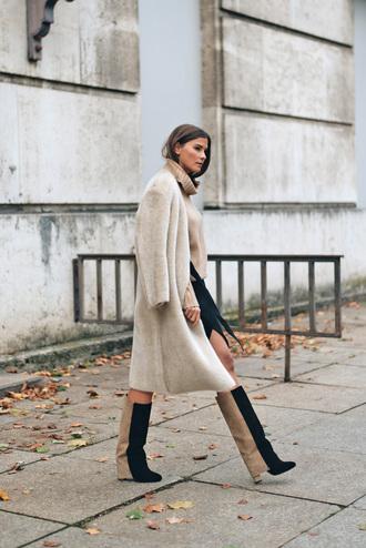 coat tumblr white coat fuzzy coat teddy bear coat boots knee high boots turtleneck turtleneck sweater