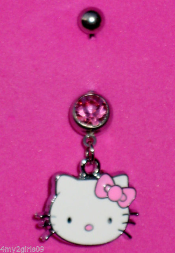jewels pink hello kitty belly button ring ring